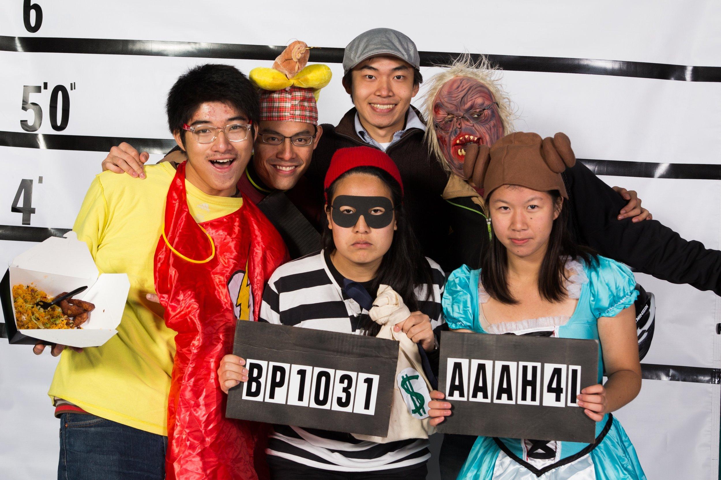 Group of people dressed as inmates