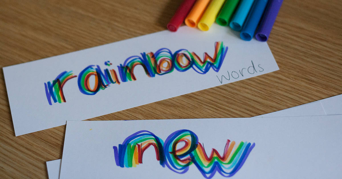 rainbow writing - Our students love to practice writing their name, sight words, and more using rainbow writing.In rainbow writing, students write each word first with a pencil. Then they trace over each word three times with a coloured pencil or marker. Each time they trace they must use a different colour.This can be taken even further by going outside with fairy liquid, chalk or even paint. Create some rainbows today!