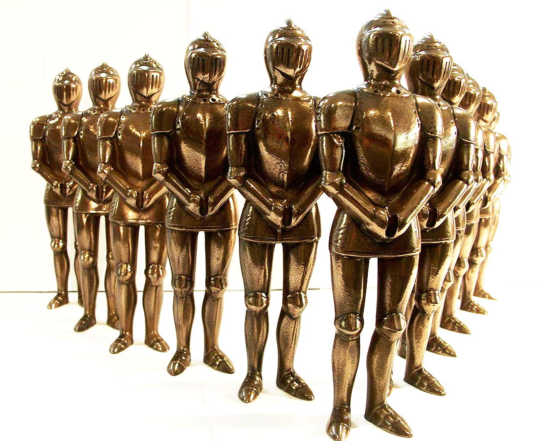 Bronze knights statues