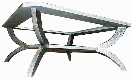coffee table frame covered in aluminium