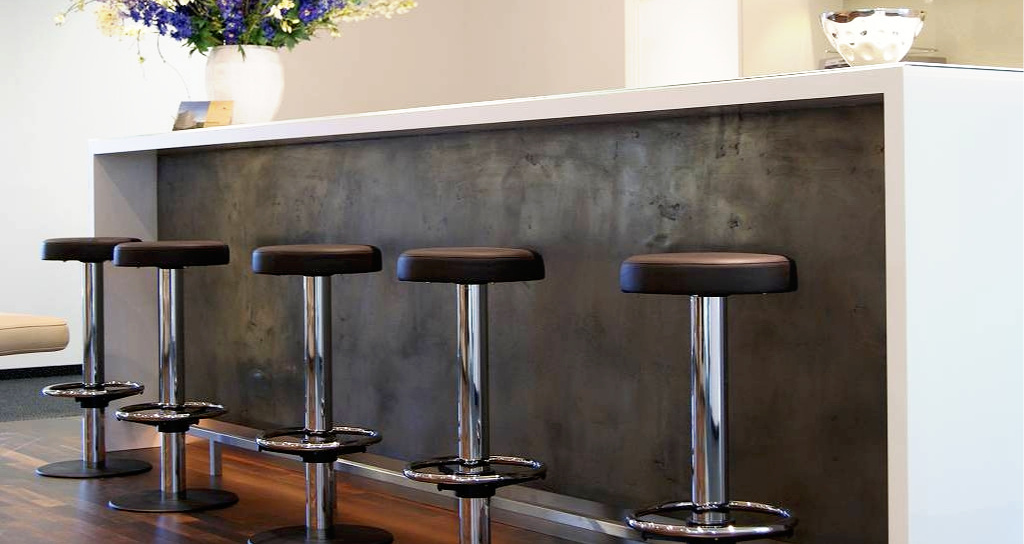 kitchen island panel in liqmet high-polished iron