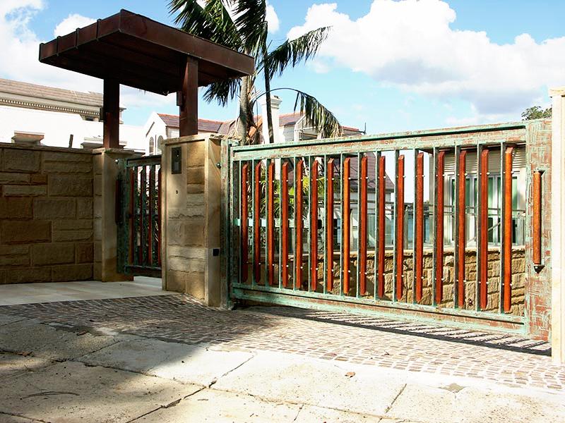 gates in copper verdigris finish