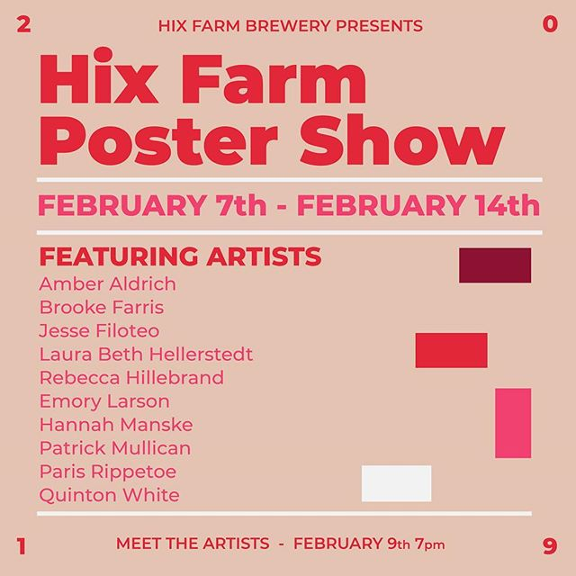 All ages are welcome to come check out the Hix Farm Poster Show reception on Saturday at 7pm!