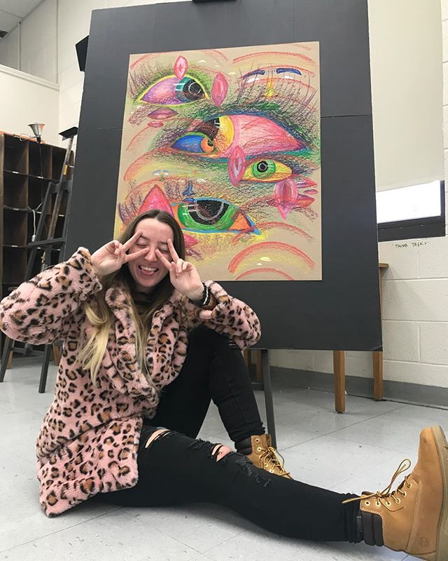 """they're watching"" Size : thicc af Medium : oil pastels on matte board  #oilpastels #feministart #feministaf #feminismart  #modernposters #posterdesigns #posterdesign #freshdesign #studentartwork #designstudy #experimentaldesigner #experimentalposters"