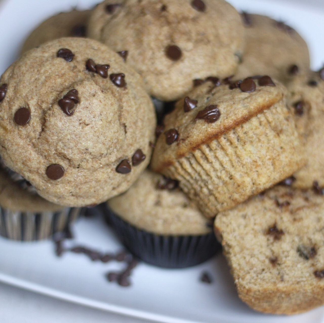 Whole-Wheat Banana and Chocolate Chip Muffins
