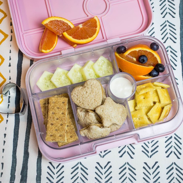 Have fun with shapes! - PB and jam sandwiches, cinnamon graham crackers, white cheddar cheez-its, cucumbers, blood oranges, and blueberries!