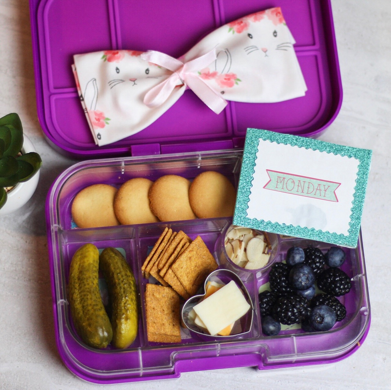 Kiddie Charcuterie Tray! - Mini pickles, wheat thins, assorted cheese,blackberries, blueberries, almonds, and mini vanilla wafers!
