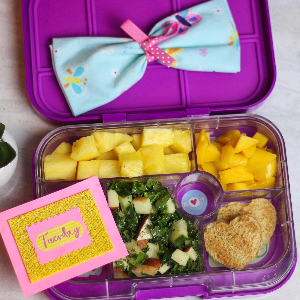 salad day! - Kale salad (kale,apples,cucumbers,sweet vinaigrette), toasted PB sandwiches, mango, and pineapple!