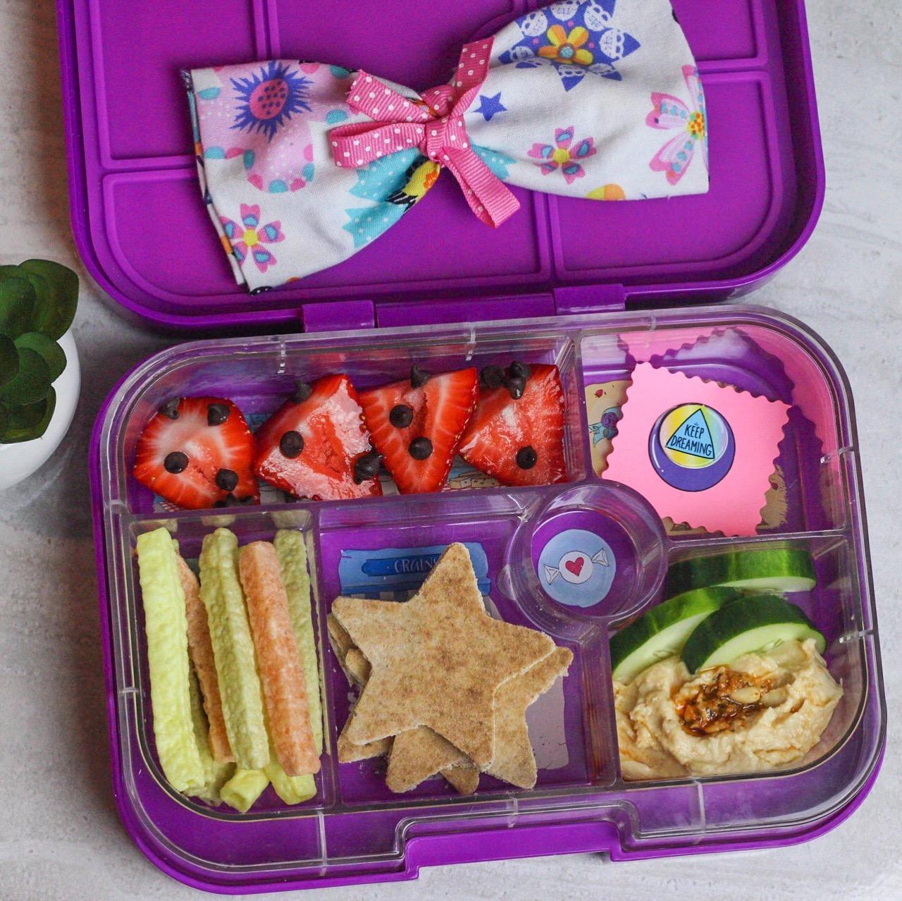 strawberries & chocolate, yum! - Whole wheat pita stars, hummus, cucumbers, veggie straws, and strawberries with chocolate!