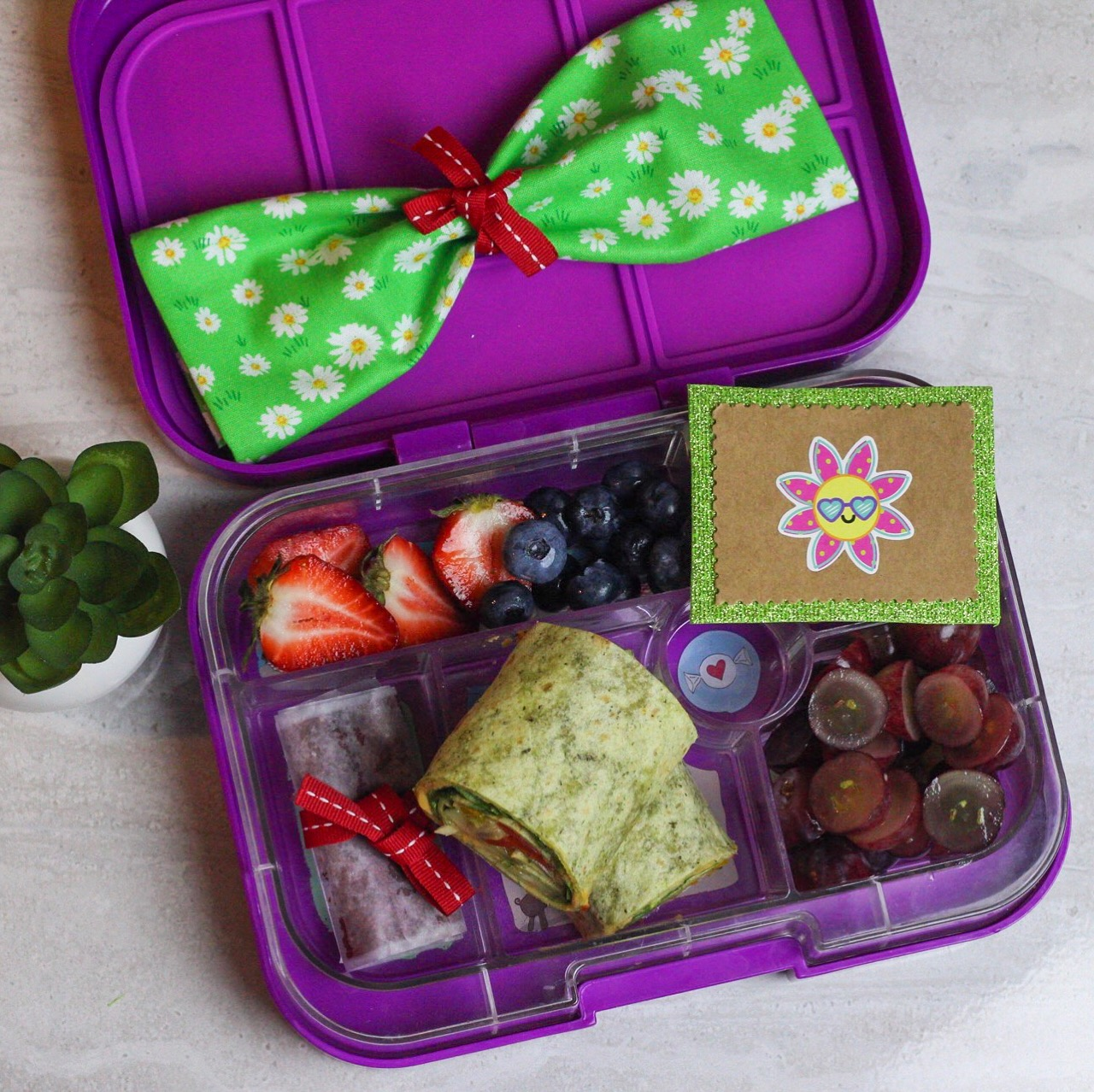 a homemade fruit roll up is in this lunch! - Spinach veggie wrap (cucumbers,tomatoes,onions,spinach,hummus, sweet peppers, seasoning), homemade fruit roll up, grapes, strawberries, and blueberries!