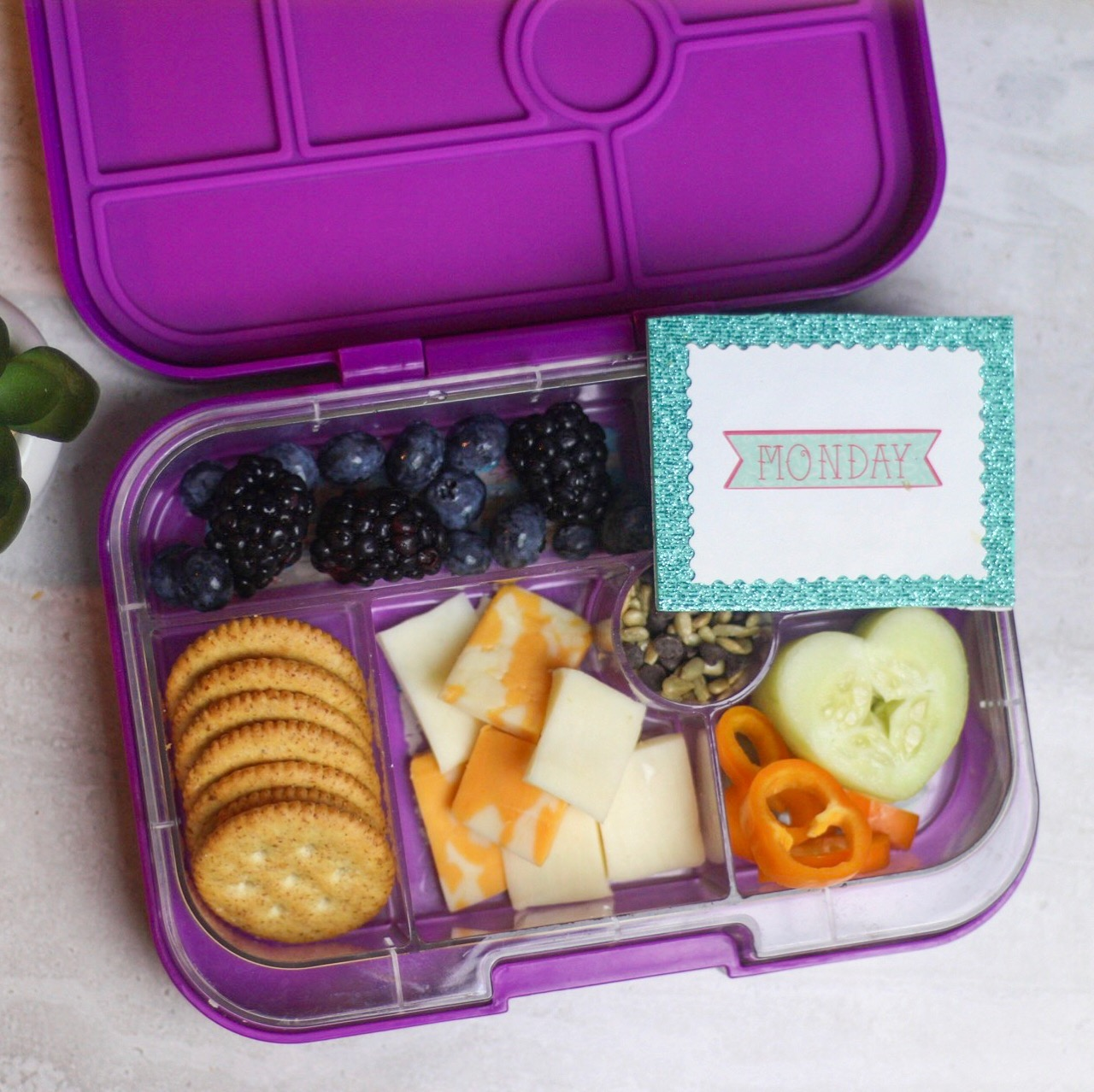 quick fav's are ALWAYS a go-to! - Assorted cheese, whole wheat crackers, cucumbers, sweet orange peppers, sunflower seeds and chocolate chips, blackberries, and blueberries!
