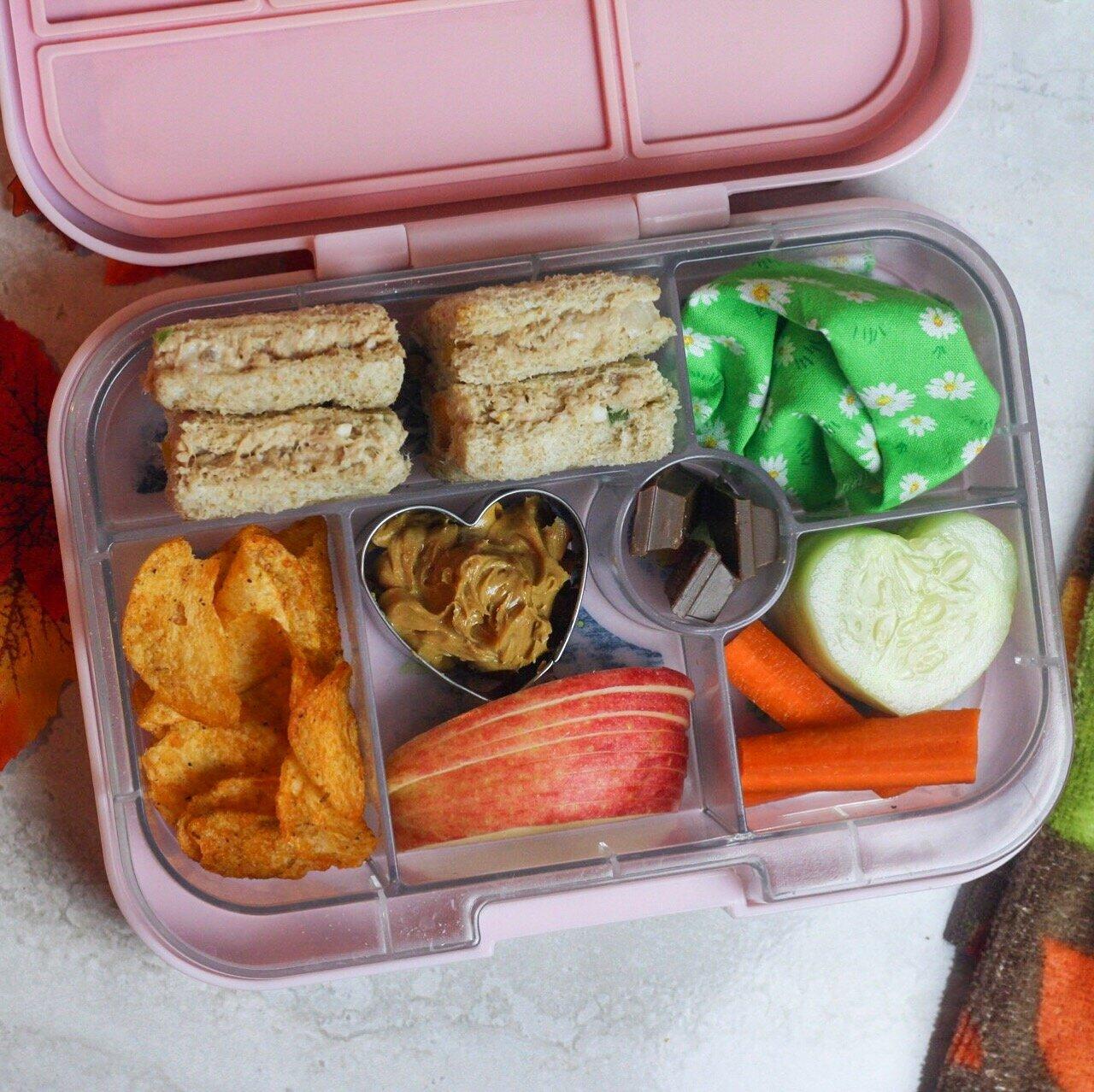 tuna sammie's anyone? - Tuna sandwiches,barbecue chips,apples + peanut butter,cucumbers + carrots,kit-kats!
