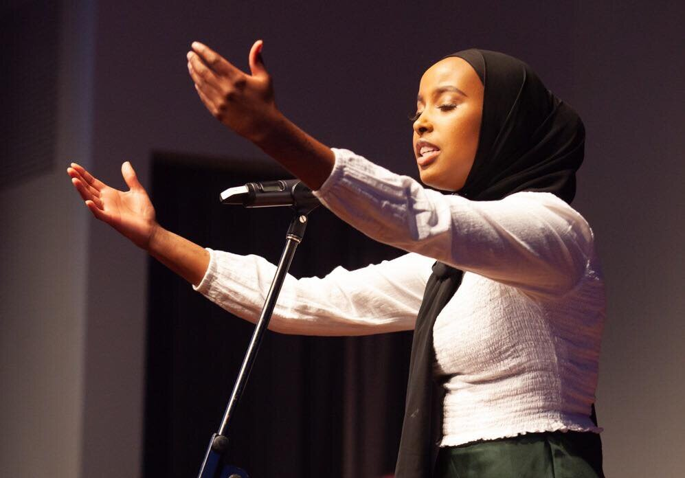 Zaynab performs 'She is Light' at Melbourne Writers' Festival. Photo credit: Kate Baker