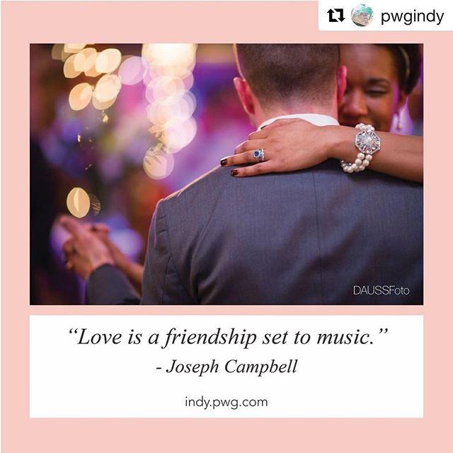 Thank you @pwgindy!! ・・・ Love is a friendship set to music🎶 📸 @daussfoto • • • #indywedding #pwgindy #indianapoliswedding #weddingplanning #love #indybride #indygroom #wedding #engaged #isaidyes #lovequotes #weddingphotography #indyphotographer #indyweddingphotography