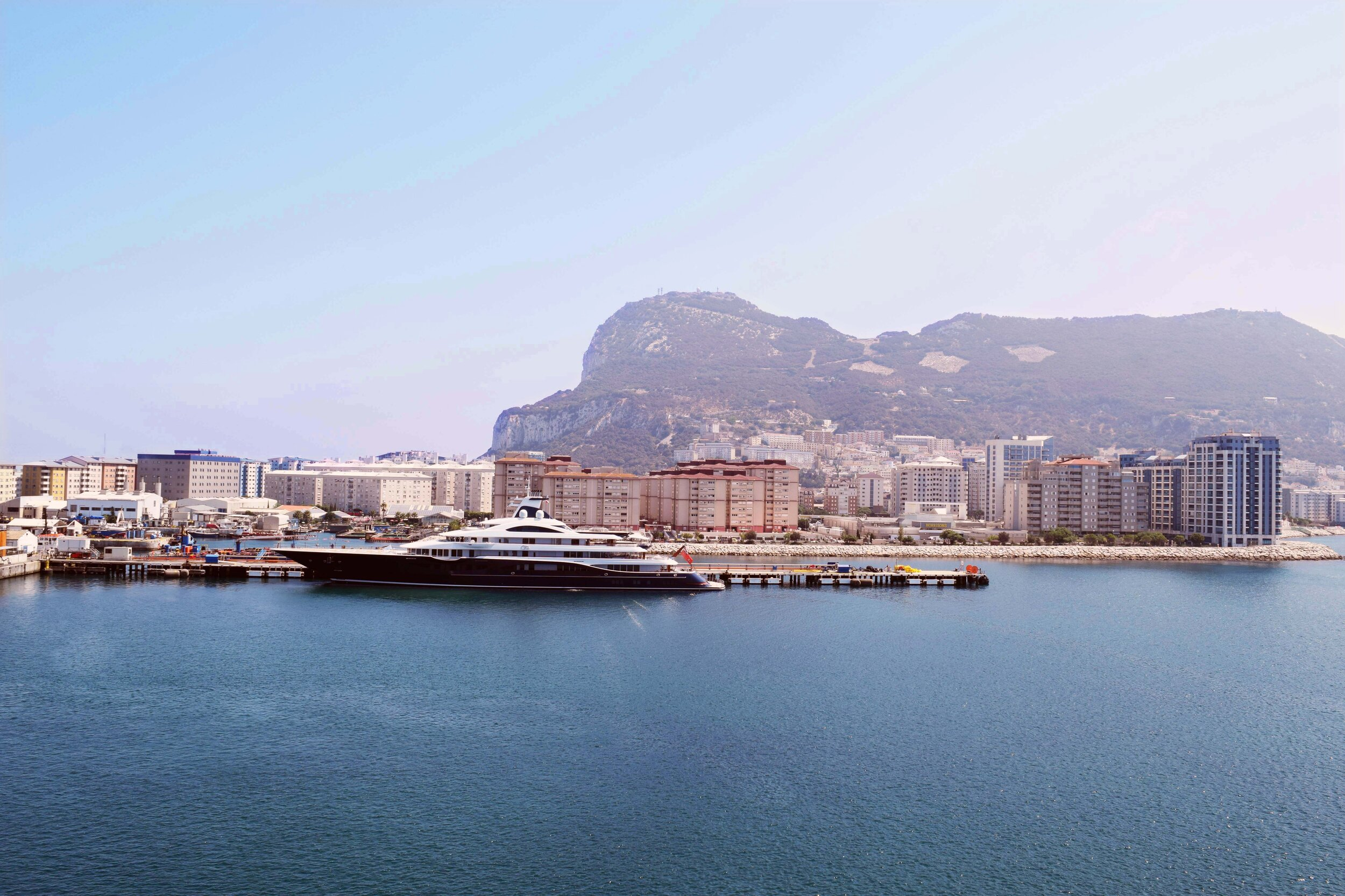 The view of The Rock of Gibraltar from the Emerald Princess cruise ship.