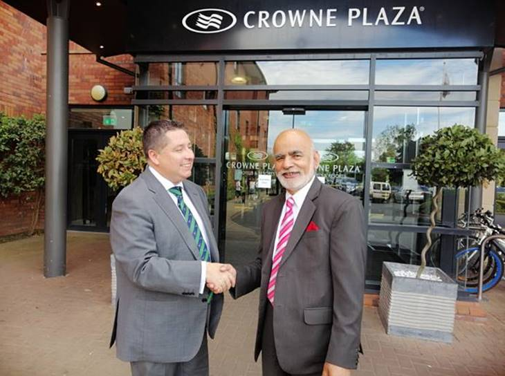 Lord Rana (Right) Chairman Cordia Football Academy, India with Mr Gerard Lawlor, Chairman Cliftonville Football Club, at the Crowne Plaza, Belfast