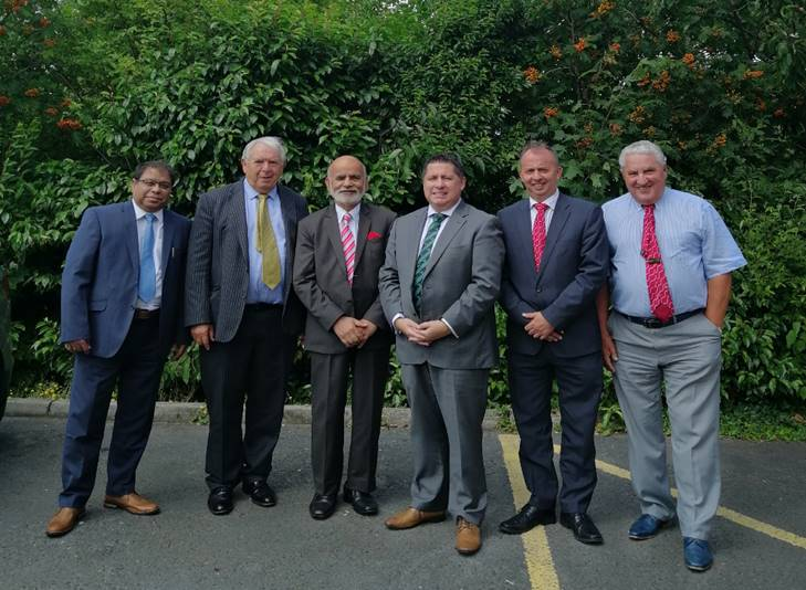 From Left to Right,  Sameer Seth- Vice President, Cordia FC, Mr Dermott Brooks- Finance Director, Andras House, Lord Rana - Chairman Cordia FC, Mr Gerard Lawlor- Chairman, Cliftonville FC, Mr David Begley, CEO - Cliftonville FC, Mr Jim Boyce, Club Patron, Cliftonville FC
