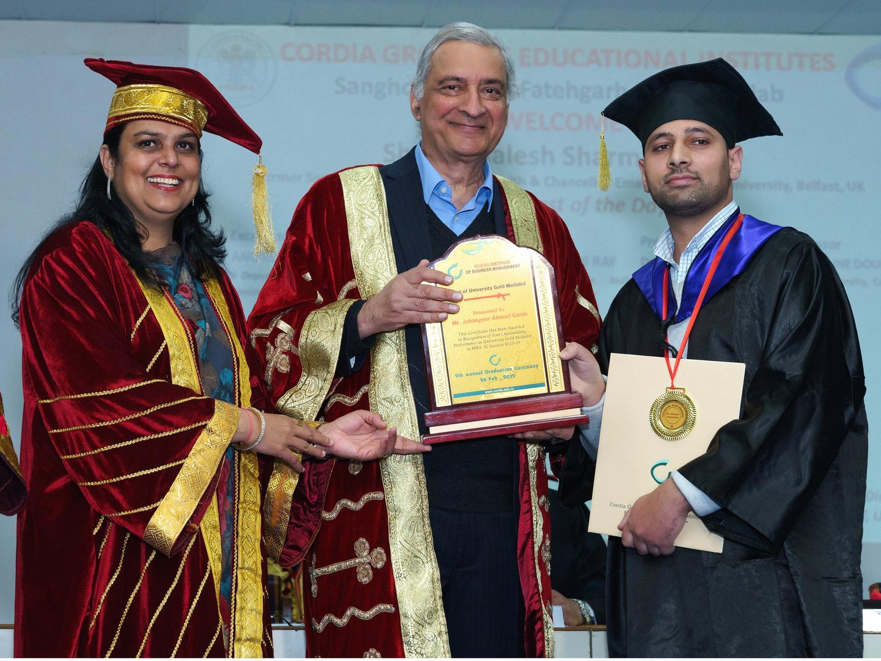 Award of University Gold Medallist Presented to Jahangeer Ahmad Ganie