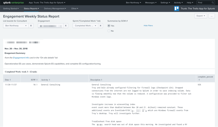 Trunk Reports - Trunk dashboards generate daily and weekly status reports in minutes. Complex engagements with custom reporting requirements are accommodated through Splunk's agile analytics and reporting capabilities.