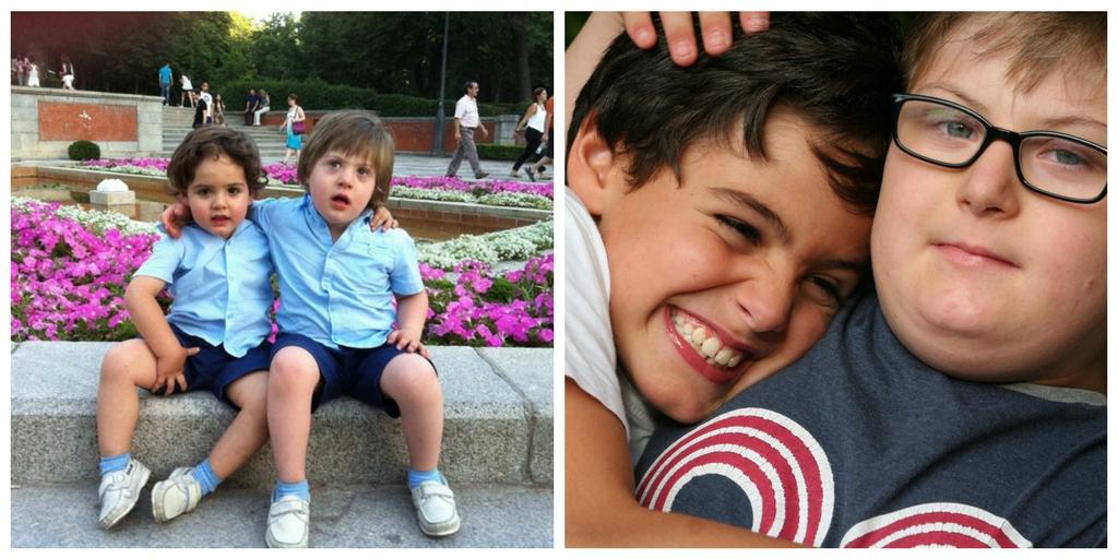 Javier y su hermano en dos momentos de su infancia