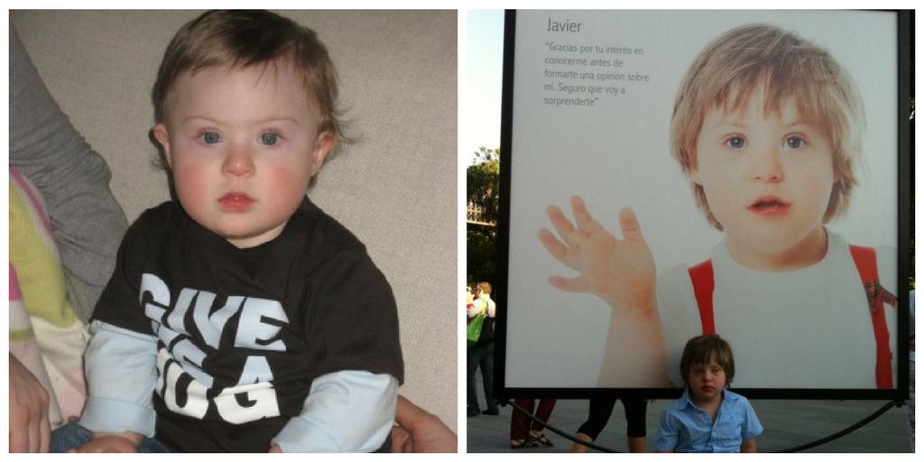 """Dos fotos, una de Javier solo y otra de Javier al lado de su fotografía de la exposición """"Más allá de un rostro"""", de la Fundación Down Madrid"""