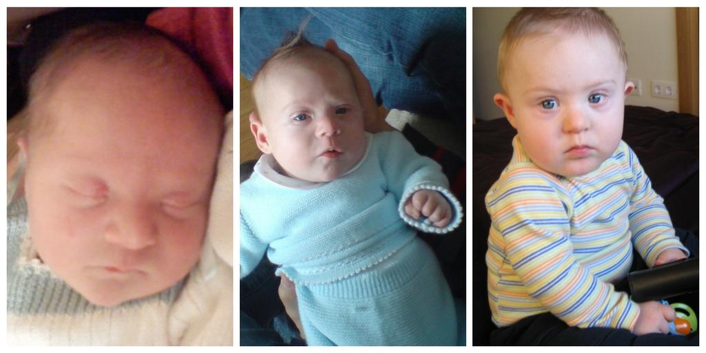 Dos fotos de Javier recién nacido y otra con un año