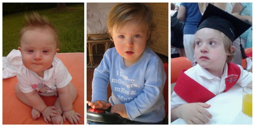 Tres fotografías de Javier, las tres de pequeño.