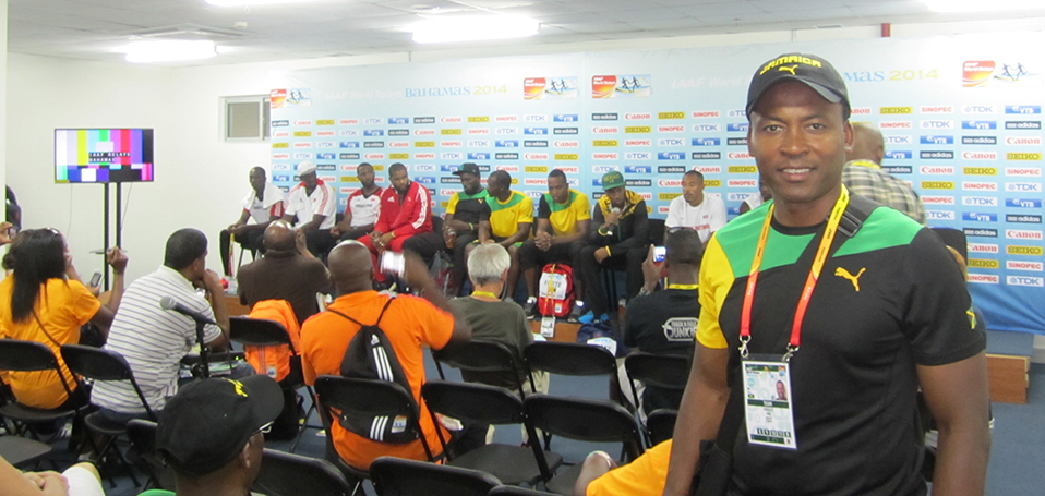 Dr. Chin in the press room after the 2015 JIAAF/BTC World Relays in the Bahamas.