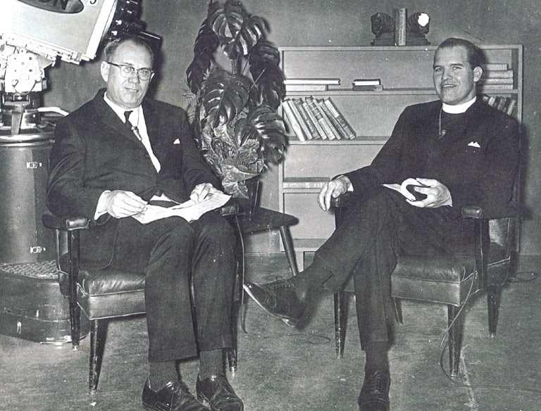 My father, right, on the set of his TV show in the 1960s.