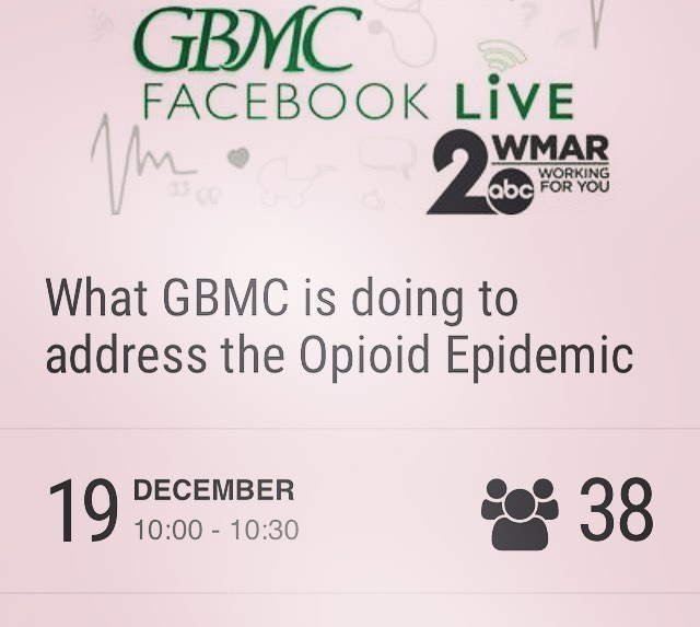 Opioid overdoses accounted for more than 42,000 deaths in 2016. Now, the opioid epidemic has been declared a public health emergency. GBMC is doing its part to combat this dangerous crisis. Join Christian Schaffer WMAR and experts from GBMC as they discuss opioids and alternative pain management treatment options. Submit a question in advance and we may answer it live! See you on Wednesday, December 19 at 10 a.m. on Facebook.  PLEASE NOTE: There is no live studio audience for this particular event, but you can participate in the conversation via GBMC's Facebook page. To attend an episode of Greater Living LIVE, please visit gbmc.org/greaterlivinglive. , , #foodbanks # foodbank #rehab #Suboxone #MAT #Outpatiet #Recovery #RecoveryHouse #Treatment #GroupTherapy #IndividualTherapy #accredited #SubstanceAbuse #gbmc #facebook #wmar #baltimore  #410-377-2200