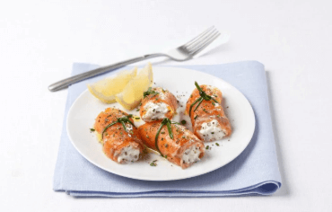 Salmon and burrata rolls