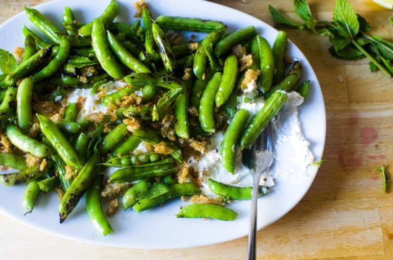 Burrata-with-Charred-and-Raw-Sugar-Snap-Peas