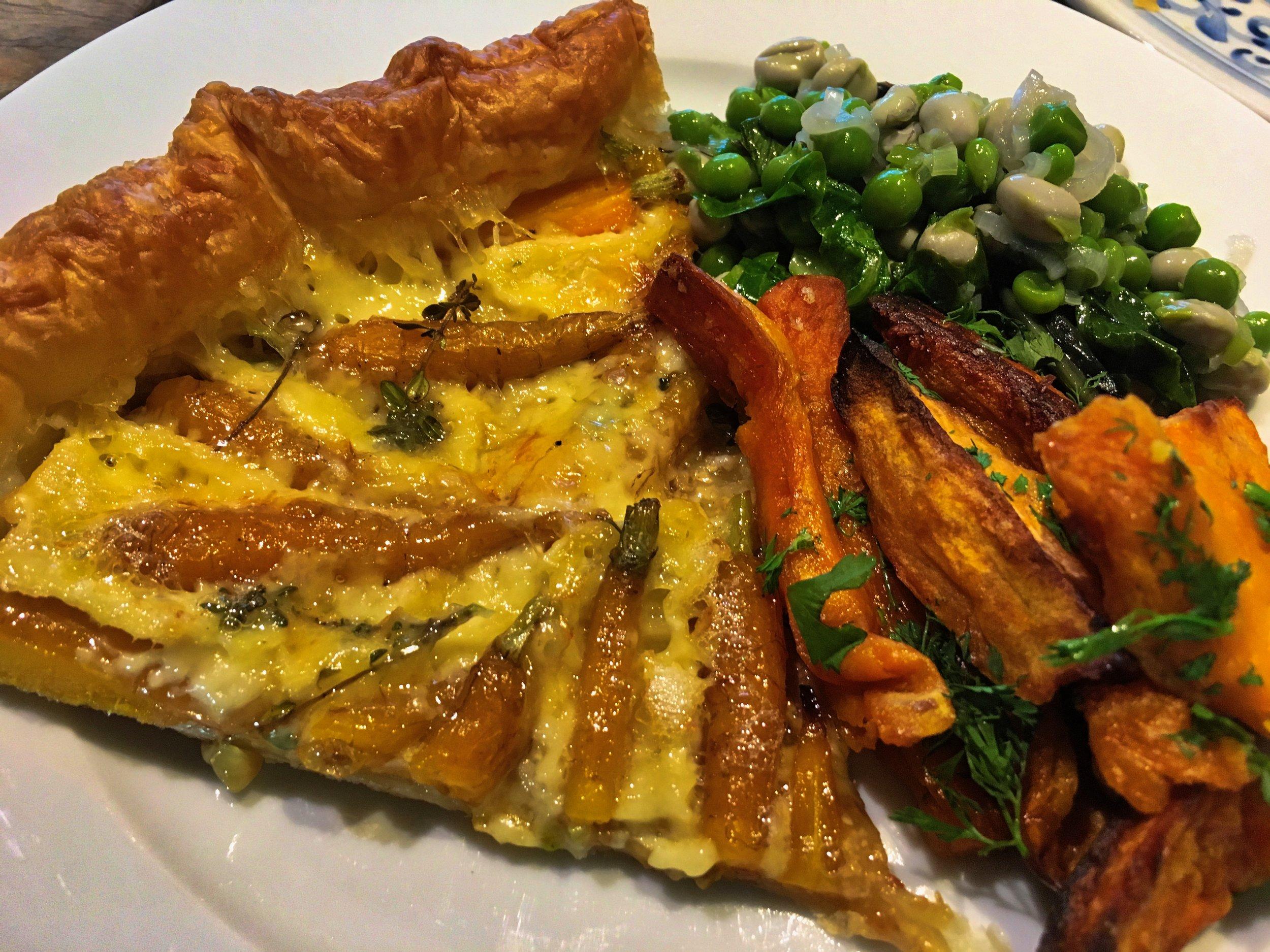 Carrot & Camembert tart with luscious peas & roasted sweet potatoes