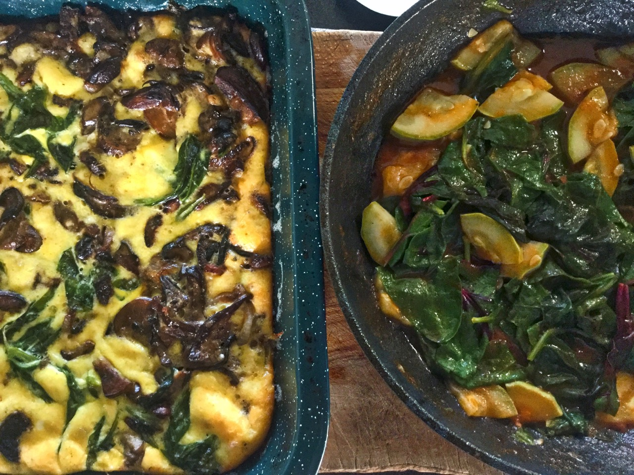 Cep, onion & spinach frittata along with tomato, courgette, chard & spinach