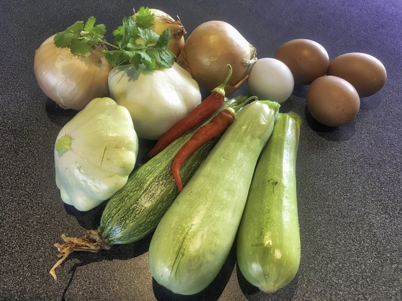 All home grown, even the blue and brown eggs. These onions and courgettes aren't huge so I've upped the quantity.