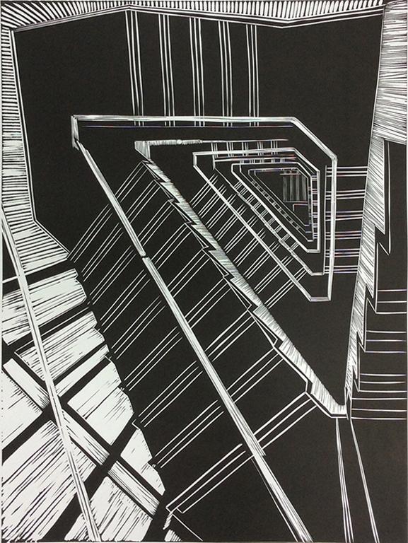 Barbican balustrade, Linocut