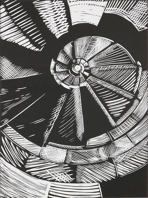 Sacrada spiral, Linocut