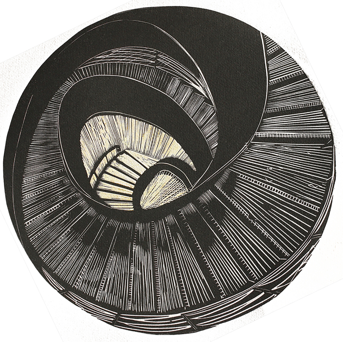 In the round, Linocut