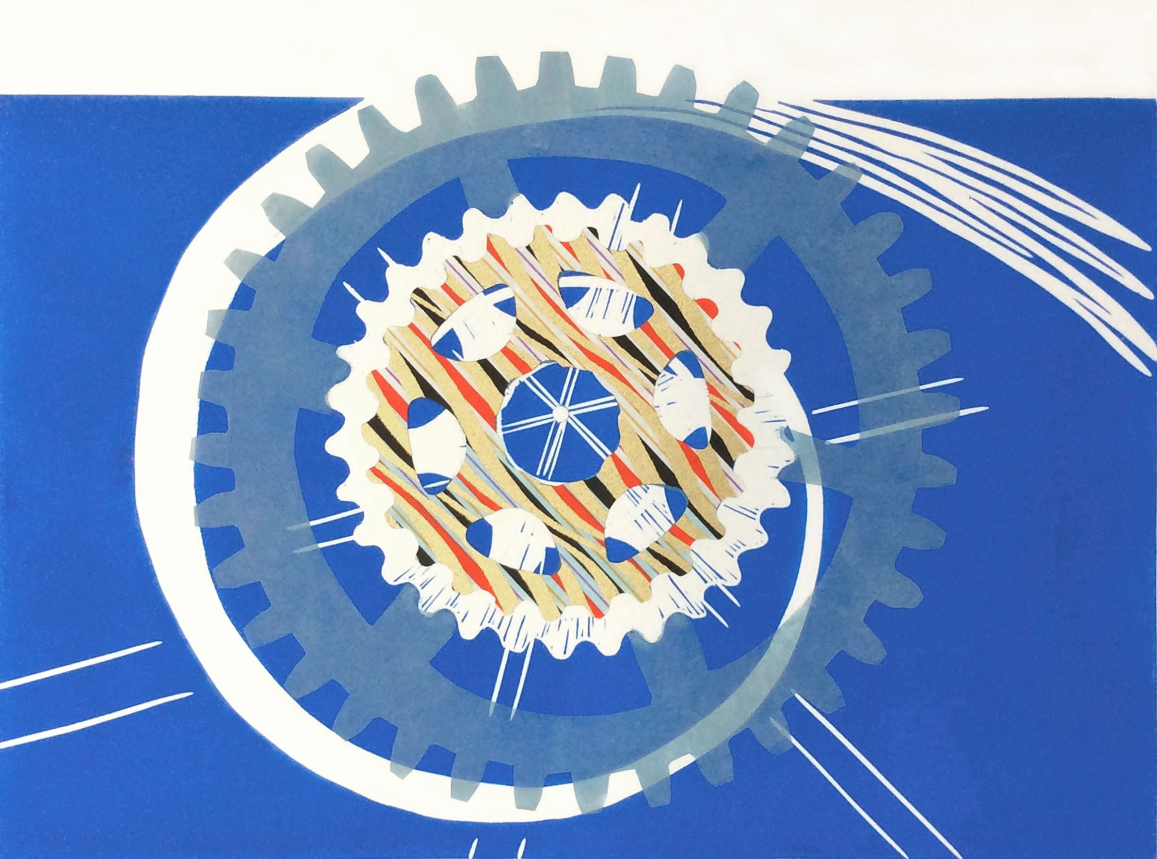 Wheel of time, linocut and chine collé