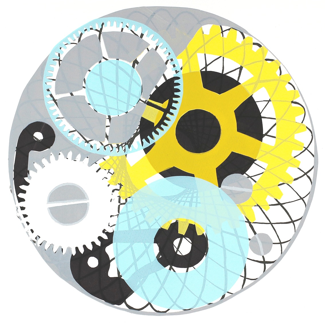 Screen-prints - Spirals, cogs and gears