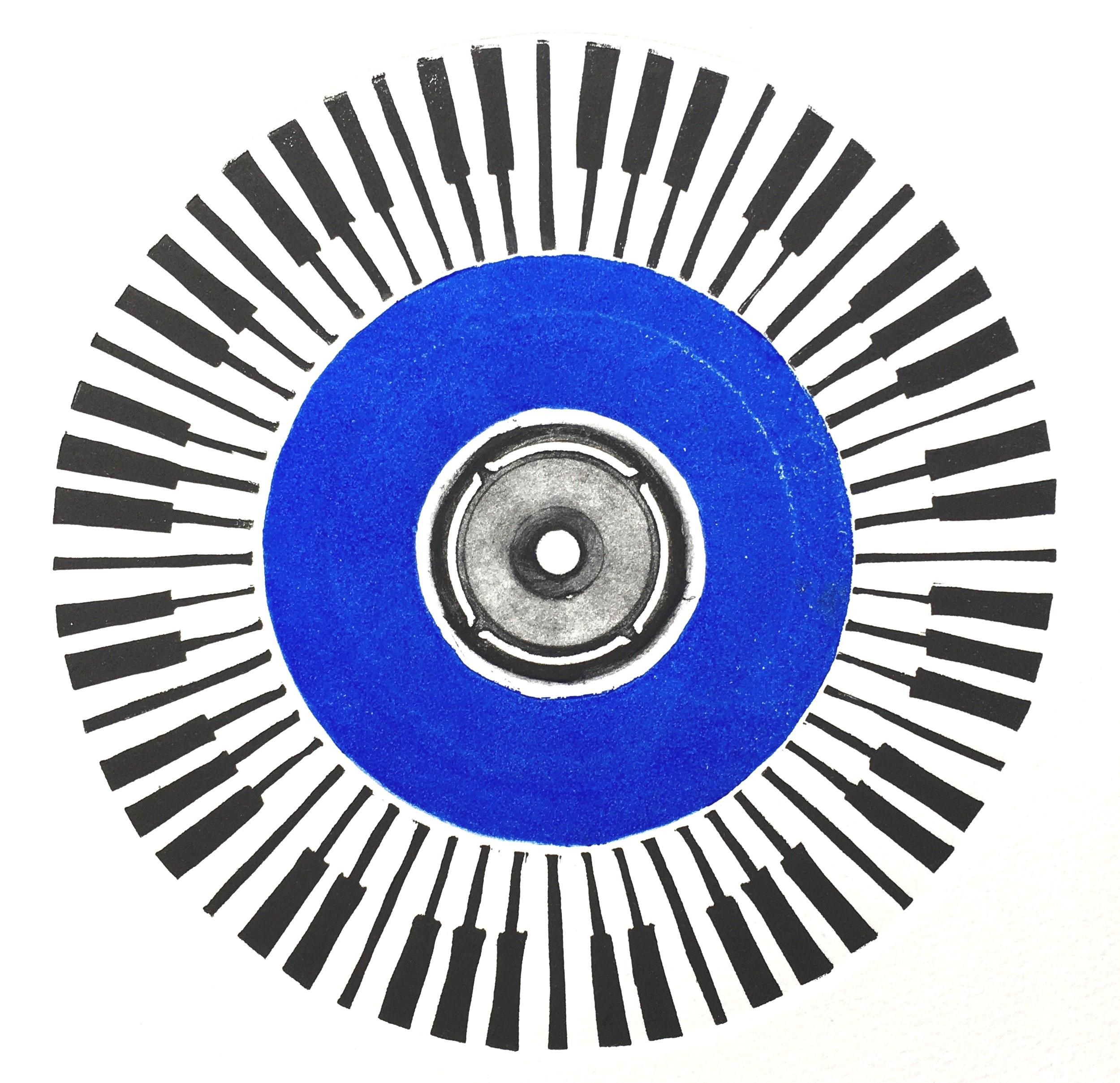 Blue notes, Linocut