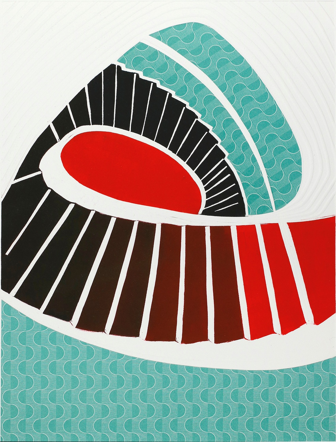 Turning point II, Linocut and chine collé