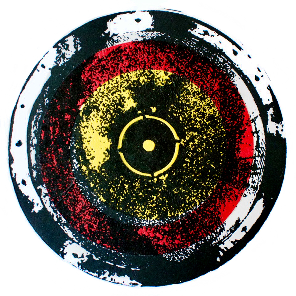 On Target, Photopolymer etching and chine collé