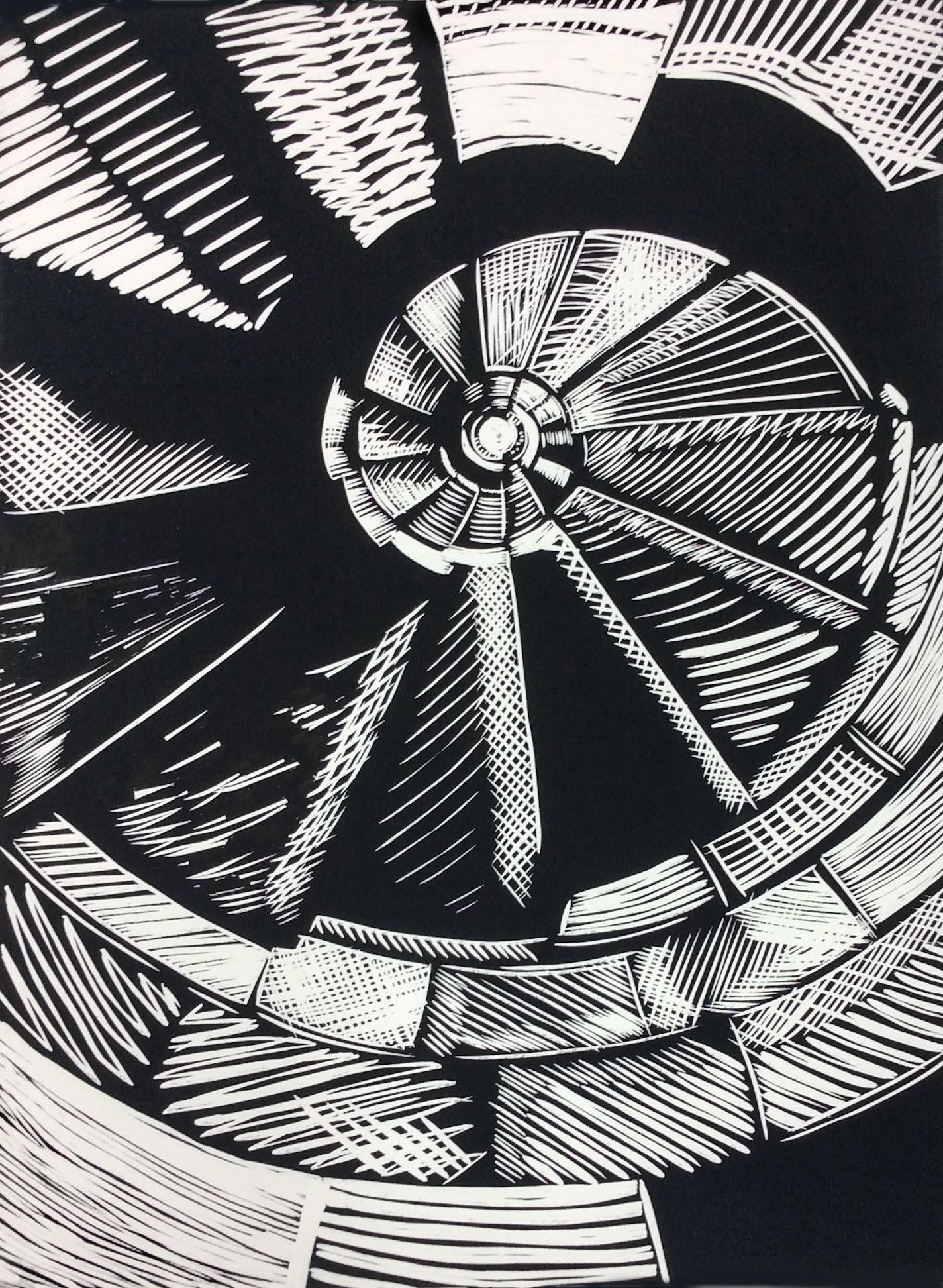 Sacarada spiral, Linocut
