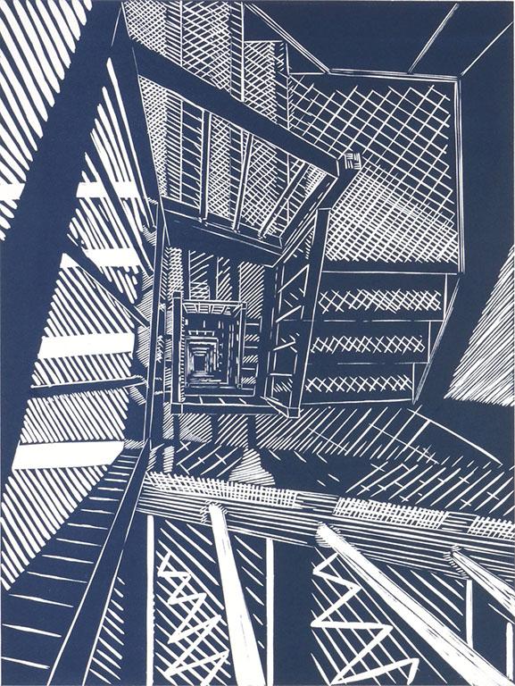 Twenty six floors, Linocut