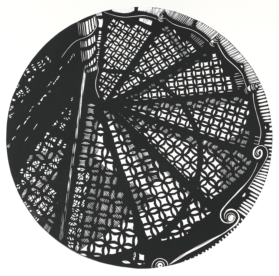 The Iron Staircase, Linocut