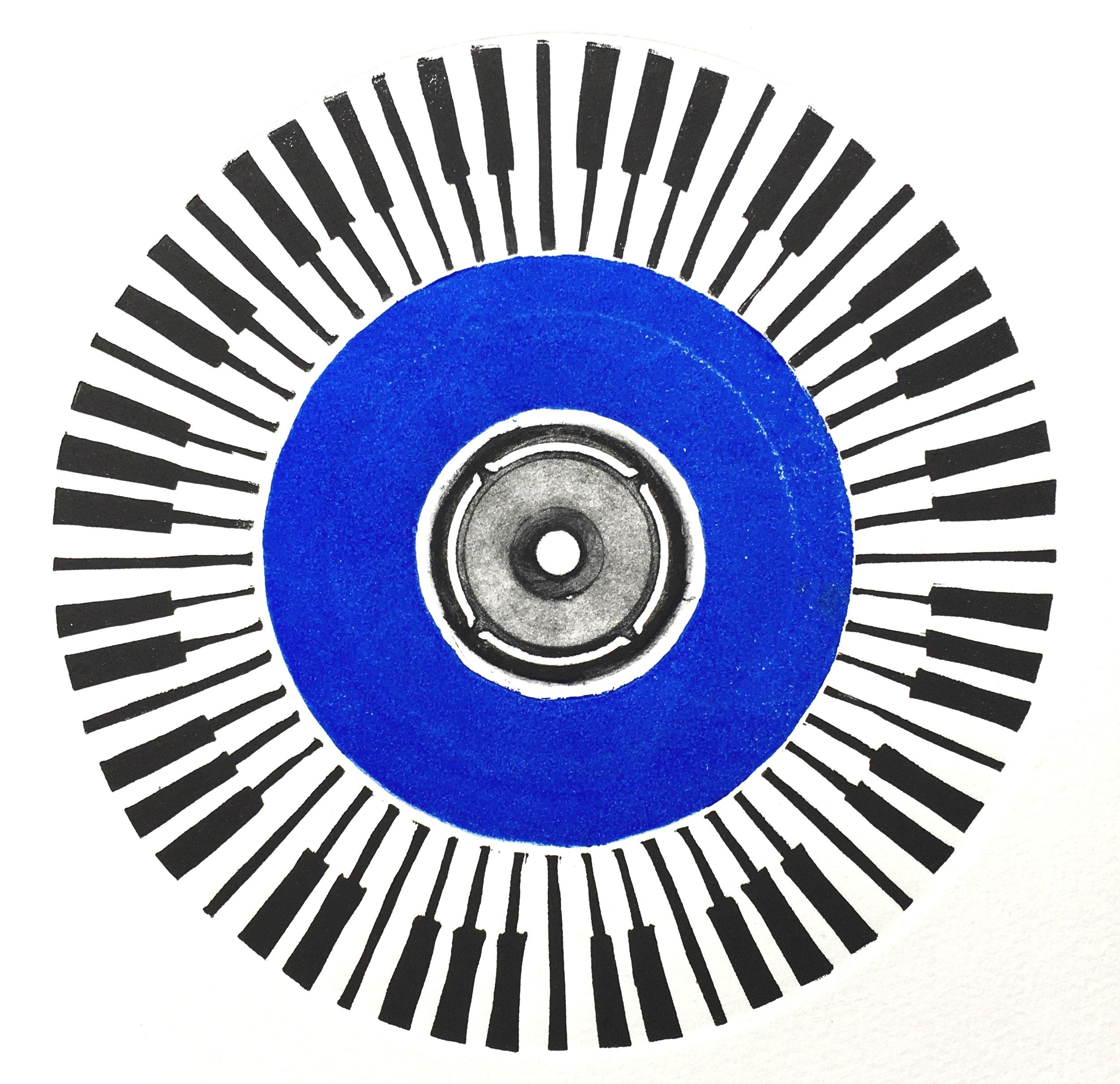 Circular keys, Linocut