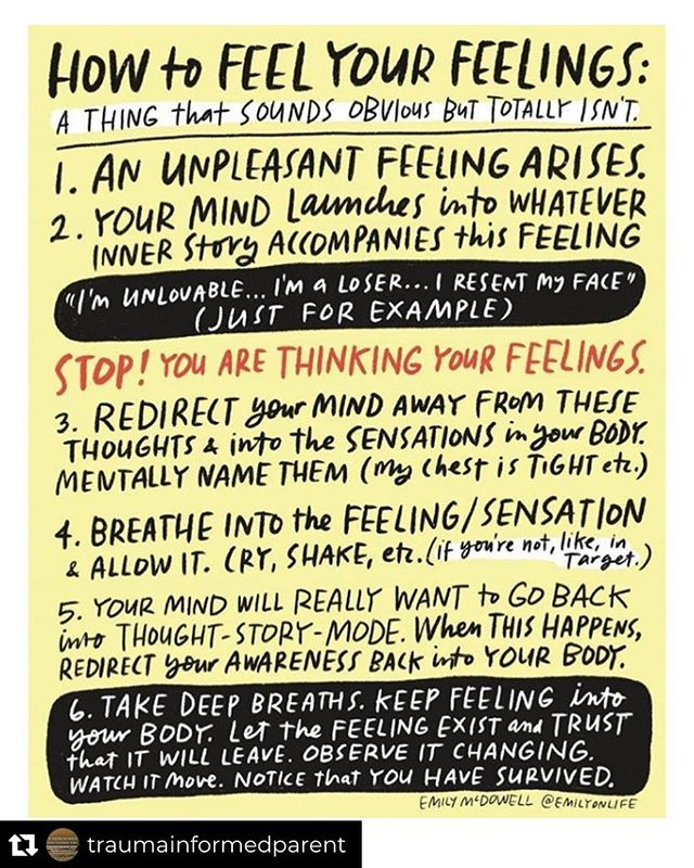 This is what I try to practice and teach my students - sometimes it's easier to do than others. If you feel a thing, try to sit and observe it in your body, name it, maybe even ask it questions, and watch it evolve or roll through your body. Reposted from @traumainformedparent