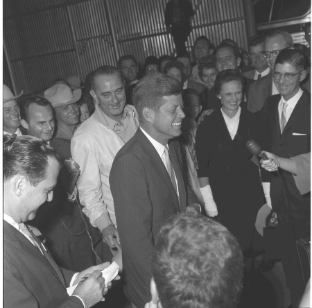 Sen. John F. Kennedy visiting Sen. Lyndon B. Johnson at the LBJ Ranch. LBJ Library photo by Frank Muto, Nov. 1960