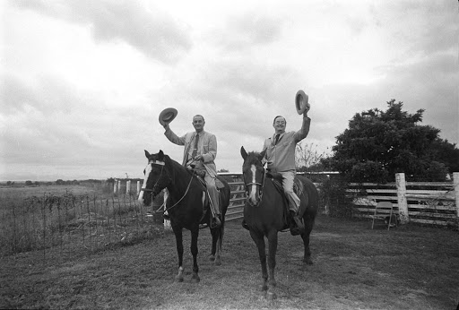 President Johnson and Vice President Hubert Humphrey on the LBJ Ranch. LBJ Library photo by Cecil Stoughton, Nov. 2, 1964
